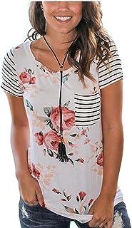 Womens Short Sleeve Floral Casual Top Blouse Summer Soft Stripe Tee Shirt S-XXXL