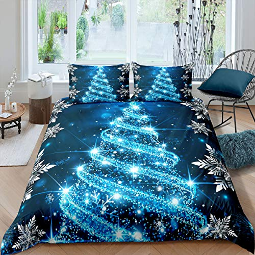 Christmas Bedding Set Queen Size Girls Glitter Blue Christmas Tree Comforter Cover Merry Christmas Warm Theme Soft Duvet Cover Adult Women Boys Winter Snowflake Blue Xmas Theme Gifts Bedspread
