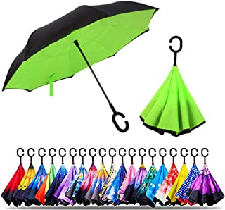 Original Deals Inverted Inside Out Umbrella | Double Layer Inverted UV Protection Unique Windproof Umbrella | Reverse Open Folding Umbrellas with C Hook for hanging on points (Green)