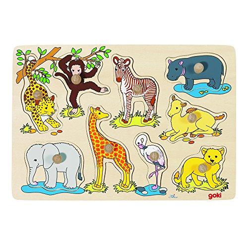 Goki 57829 - steekpuzzel - Afrikaanse dierenkinderen 9 stuks