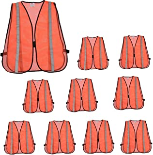 ZOJO High Visibility Safety Vests,Adjustable Size,Lightweight, Wholesale Reflective Vest for Outdoor Works, Cycling, Jogging, Walking,Sports - Fits for Men and Women (10, Neon Orange-Updated)