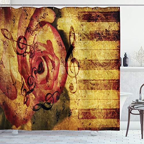 ABAKUHAUS Rose Duschvorhang, Vintage Klavier-Tastatur, Set inkl.12 Haken aus Stoff Wasserdicht Bakterie und Schimmel Abweichent, 175 x 180 cm, Creme rot