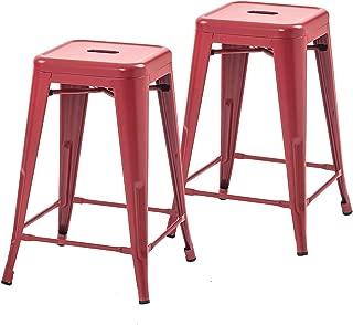 Buschman Set of 2 Red 24 Inch Counter Height Metal Bar Stools, Indoor/Outdoor, Stackable