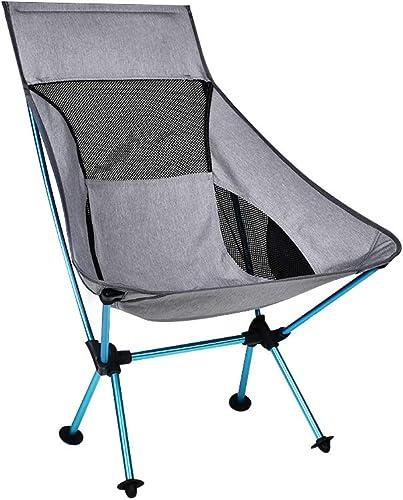 FYLQWERT Chaise grise portable de pêche Tabouret de Camping Pliant siège de randonnée étendu avec mobilier de Bureau Ultra léger