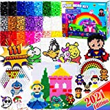 FunzBo Fuse Beads Craft Kit - 111 Patterns Melty Fusion Colored Beads Arts and Crafts Pearler Set for Kids - 5500 5mm Bead 9 pegboards for Boys Girls Age 5 6 7 Classroom Activity Gift (Large)