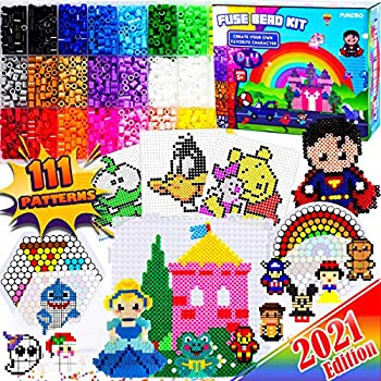 FunzBo Fuse Beads Craft Kit - 111 Patterns Melty Fusion Colored Beads Arts and Crafts Pearler Set for Kids - 5500 5mm Bead 9 pegboards for Boys Girls Age 5 6 7 Classroom Activity Gift  Large