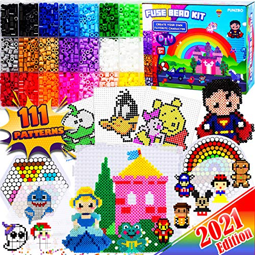 FunzBo Fuse Beads Craft Kit - 111 Patterns Melty Fusion Colored Beads Arts and...