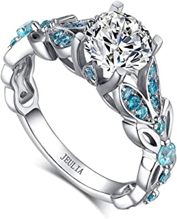 Jeulia Butterfly Round Cut Sterling Silver Ring for Women Wedding Engagement Anniversary Promise Rings with 3.5 ct Primary Stone+ 0.73 ct Side Stone