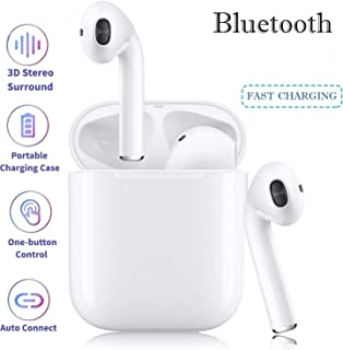PENG Bluetooth Earbuds Bluetooth Headset in-Ear 3D Stereo IPX5 Waterproof pop-up Headphones auto-Pairing Headset Quick Charging 24-Hour Charging Box Compatible with Android//iPhone Apple Airpods