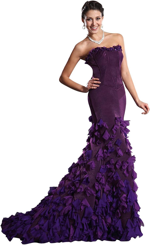 Vampal Purple Strapless Petal Embellished Mermaid Prom Dress With Train