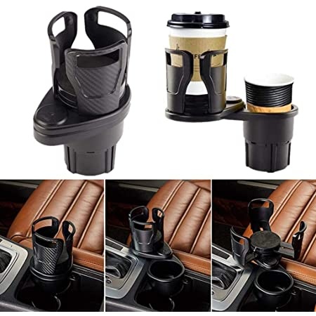 Finetoknow Car Center Console Dual Cup Holder Expander,Car Seat Water Cup Holder Coffee Cup Storage Rack Carbon Brazing Rotatable Modified Coasters