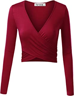 c71c07e229a38 VETIOR Women s Deep V Neck Long Sleeve Unique Slim Fit Coss Wrap Shirts  Crop Tops