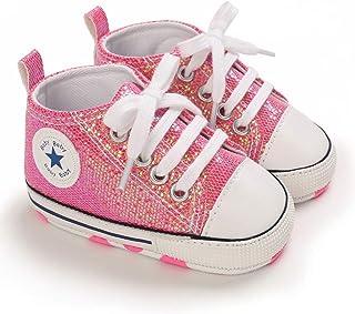 Carolilly Chaussure en Toile Premier Pas Bébé Fille Nouveau-Né Chaussure avec Semelle Souple Chaussure avec Paillette pour...