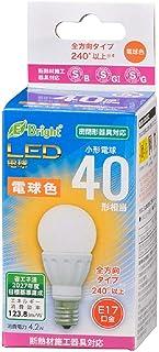 オーム電機 LED電球 小形(40形相当/520lm/4.2W/電球色/E17/全方向配光240°/密閉器具対応/断熱材施工器具対応) LDA4L-G-E17 IS22