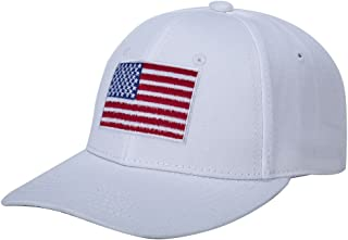WENDYWU American Flag Baseball Cap Unisex Cotton Structured with Snapback Closure (White)