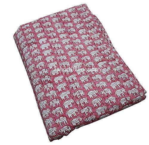 silkroude Indischer Handblockdruck Kantha Quilt Wende-Tagesdecke handgefertigt 100prozent Baumwolle Decke Bettüberwurf Vintage Floral Decor ca. 228 x 274 cm