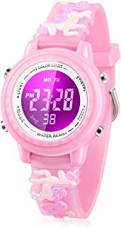 Kids Watch, 3D Cartoon Watch with 7 Color Lights and...