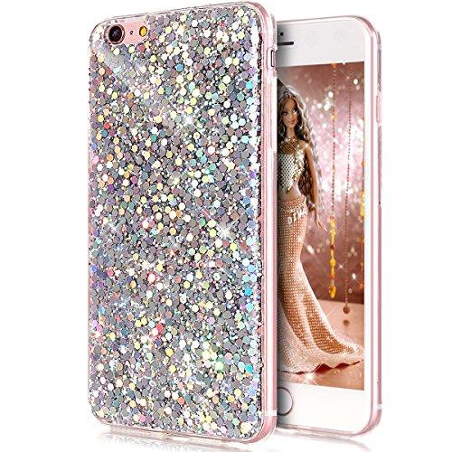 iPhone 6S Plus Case,iPhone 6 Plus Case,ikasus Luxury Sparkle 3D Bling Diamond Glitter Paillette Flexible Soft Rubber Gel TPU Protective Case Cover for iPhone 6 Plus/iPhone 6S Plus 5.5,Silver