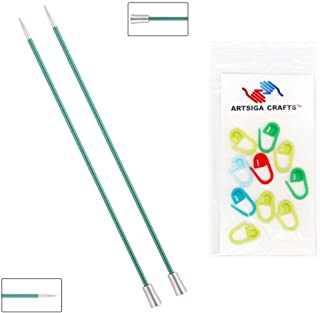 Knitter's Pride Knitting Needles Zing Single Pointed 10 inch Size US 3 (3.25mm) Bundle with 10 Artsiga Crafts Stitch Markers 140246