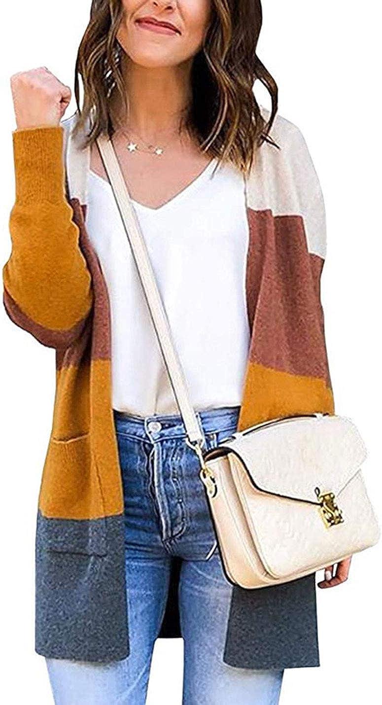 AMEBELLE Women's Oversize Kimono Color Block Open Front Cardigan Sweaters