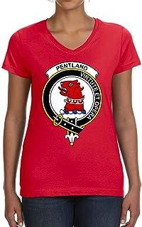 Tenacitee Women`s Scottish Clan Crest Badge Pentland V-Neck T-Shirt