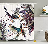 XCBN Set de Ducha colibrí con Flores de Lirio y pájaros y decoración de baño Estilo Pintura de Acuarela en Color Splash Cortina de Ducha A1 90x180cm