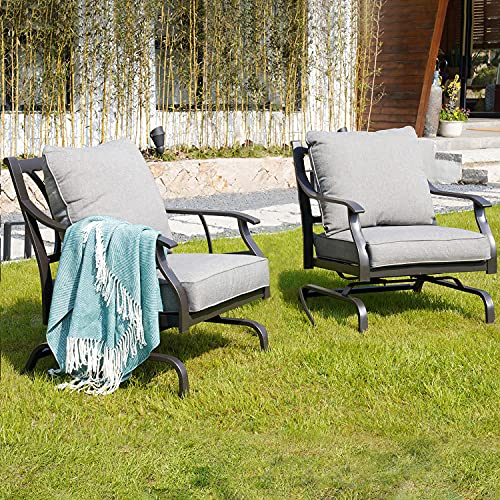 Grand patio Bistro Set Patio Conversation Set of 2 Outdoor Metal Rocking Chairs with Grey Cushion