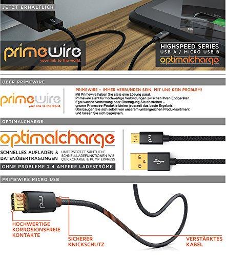 UpLink CSL - 0,5m Micro USB Kabel - 2,4A Schnellladekabel - Nylonkabel und Metallstecker - High Speed Kabel - Datenkabel für Android Smartphones Samsung Galaxy HTC Huawei Sony Nexus Kindle