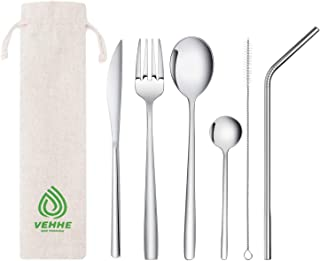 VEHHE Travel Utensils,Resuable Camping Cutlery Set, 7-piece including Knife Fork Spoon Straws Cleaning Brush Carry Pouch,Stainless Steel Flatware Set for Office Lunch