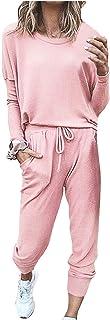 JULYBLUE Completo da Donna in Due Pezzi Tie Dye Tinta Unita Girocollo Pullover Top Pantaloni Tute Tute Pigiama Set