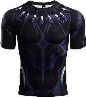 COOLMAX Raglan Short Sleeve Black Panther Compression Shirts