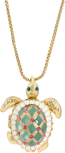 Sea Excursion Long Necklace with Turtle Pendant