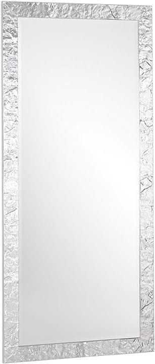 Specchio da parete appoggio o da appendere figura intera grande cornice legno foglia argento cm. 85x185 B07BSQMVPX