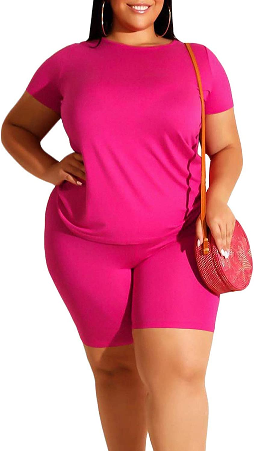 Linsery Women Plus Size 2 Piece Outfit T-Shirt Top and Shorts Casual Sweatsuit Set