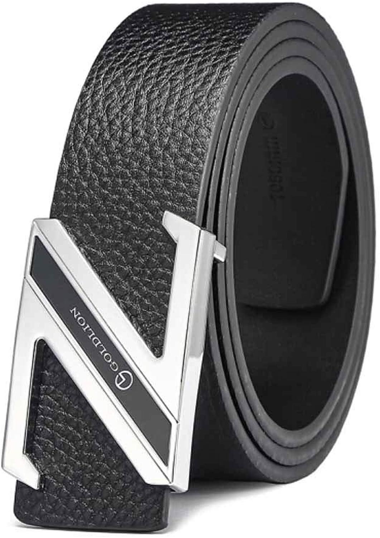 Descuento del 70% barato Hengtongtongxun Cinturón Negro Negro Negro para Hombres, Elegante cinturón de Negocios, cinturón, Regalo del día del Padre ( Talla   115cm , Style   2 )  buena calidad