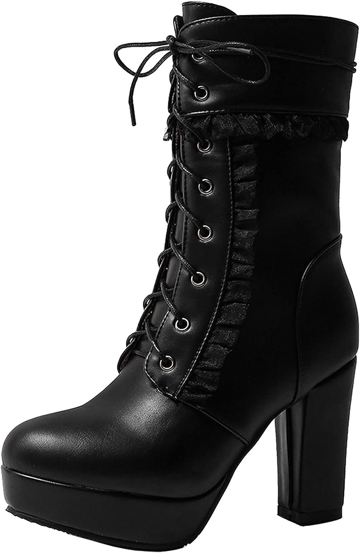 TAONEEF Women Sweet Mid Calf Boots High Heels Platform Boots