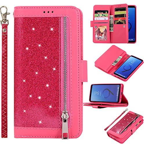 Artfeel Glitzer Reißverschluss Brieftasche Hülle für Samsung Galaxy S9,Bling Glänzend Leder Handytasche mit 9 Kartenfächer,Flip Magnetisch Stand Schutzhülle mit Handschlaufe-Rot