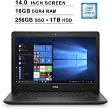 2019 Newest Premium Dell Inspiron 14 3000 Laptop (Intel Core i3-8145U up to 3.9GHz, 16GB DDR4 RAM, 256GB SSD (Boot) + 1TB HDD, Intel UHD 620, WiFi, Bluetooth, HDMI, Windows 10 Home, Black)