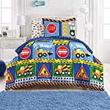 dream FACTORY Under Construction 5-Piece Microfiber Bag Comforter Bedding Set Super Soft-Twin, Navy Blue