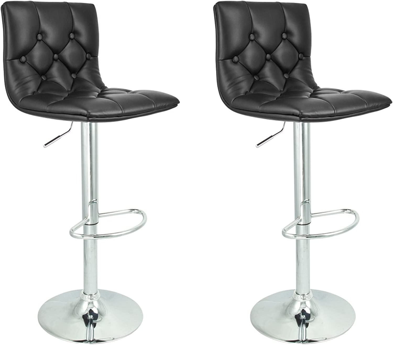 2 Swivel Black Elegant PU Leather Modern Adjustable Hydraulic Bar Stool Barstool
