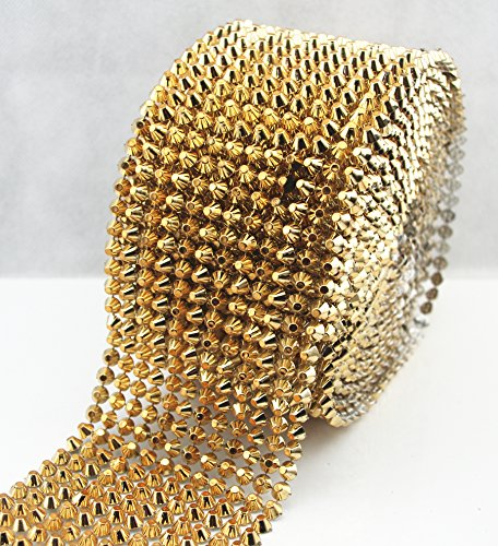AEAOA 1 Yard Gold Sew Stitch On Spike Stud Cone Flat Back Punk Rock Trim Mesh Bead Craft (Gold Flat)