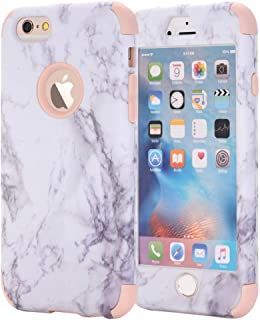 iPhone 7 Case, AOKER [Marble Design] Slim Dual Layer Anti-Scratch &Fingerprint ShockProof Hard Back Cover Soft Silicone Protective Case Fit for Apple iPhone 7 4.7 inch (Rosegold+Glass)