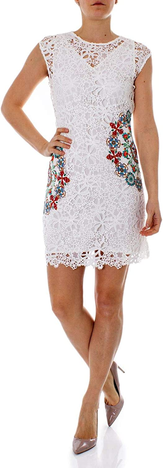 Desigual Women's 19SWVW99WHITE White Polyester Dress