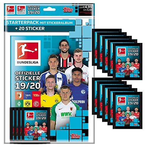 CAGO Topps Bundesliga Sammelsticker 2019/20 - 1 Album inkl. 4 Tüten + 10 Tüten