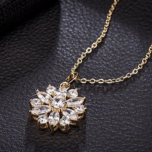 YAZILIND Women Jewelry Rhodium Plated Flower Shape Inlaid Zirconia Pendant Chain Necklace