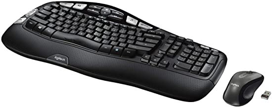 Logitech MK550 Wireless Wave Keyboard and Mouse Combo - Includes Keyboard and Mouse, Long Battery Life, Ergonomic Wave Design - Black