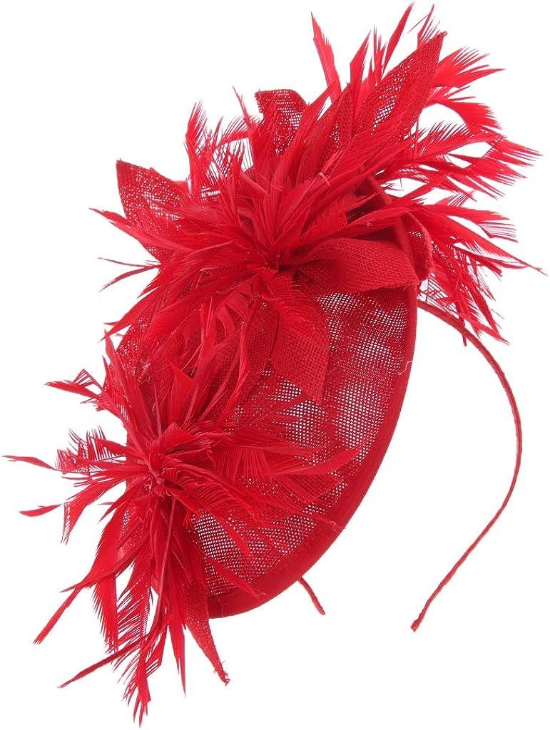 dailymall Sinamay Feather Flower Alice Headband Clip Hat Fascinators Races Royal Ascot
