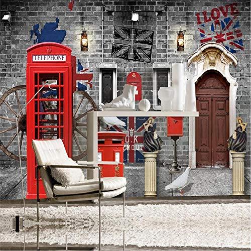 Wandaufkleber Europa Und Amerika Retro Nostalgie London Street 3D Foto Wallpaper Cafe Restaurant Telefonzelle Grey Brick Wall Paper 3D-300Cmx210Cm