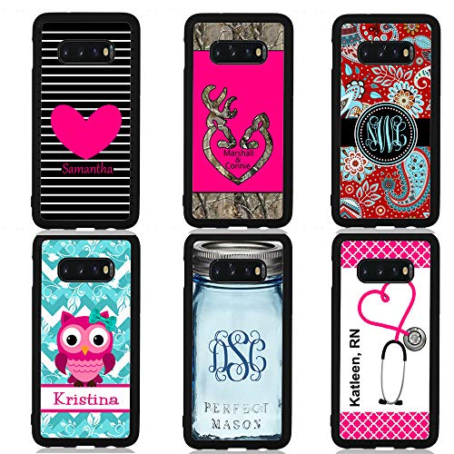 Personalized or Monogram case for Samsung S10+ S10 S9+ S9 S8+S8 Note 9 Note 8 Heart Deer Camo Paisley Owl Chevron Mason Jar Nurse RN Stethoscope
