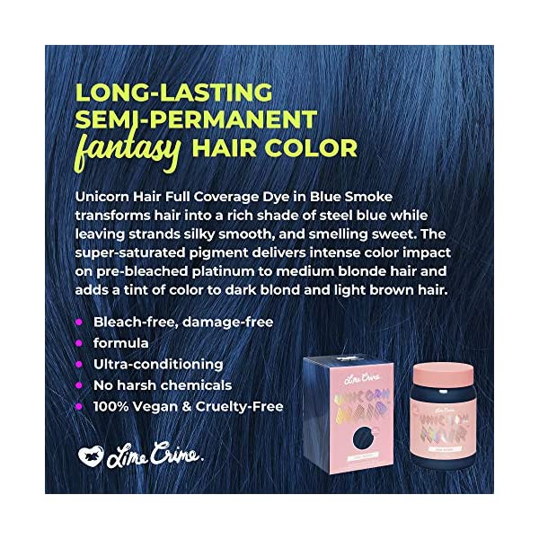 Lime Crime Unicorn Hair Dye, Blue Smoke - Navy Blue Fantasy Hair Color - Full Coverage, Ultra-Conditioning, Semi-Permanent, Damage-Free Formula - Vegan - 6.76 fl oz 5